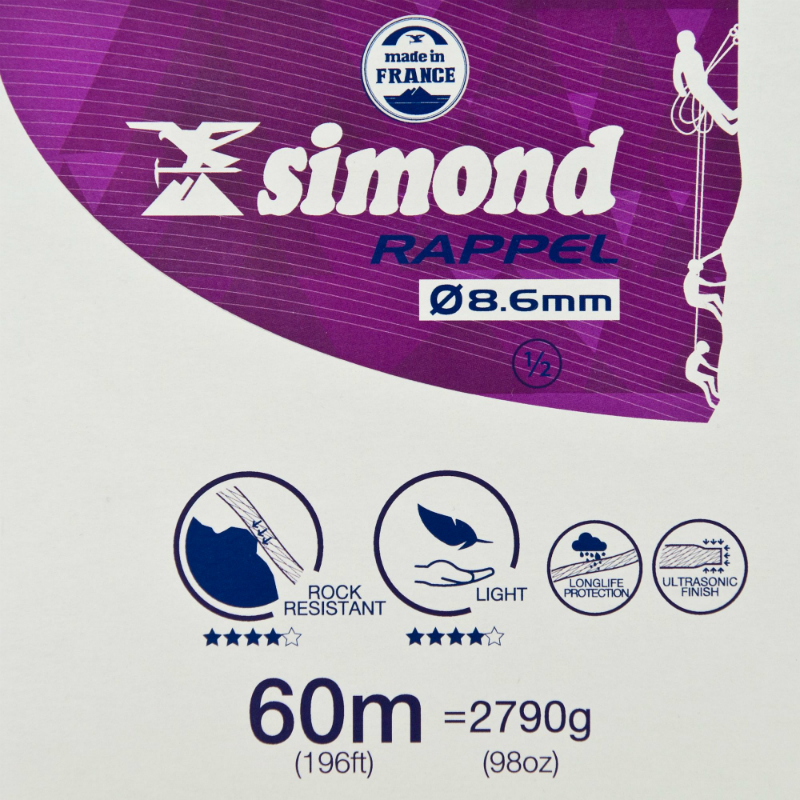 Simond 8.6mm Double Rope 60m