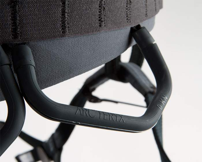 Arcteryx I340a climbing harness reversible and detachable gear loops