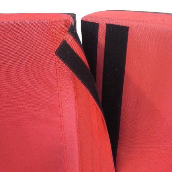 Red Chili Monster Crash Pad with velcro close-up, red