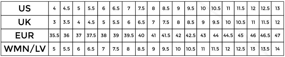 So Ill Shoe Sizing Chart
