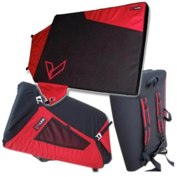 Vline Alley Pad  Red and Black in Full Open, Close and Back View
